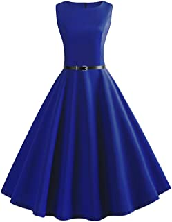Women Vintage Sleeveless O Neck Evening Vintage Gown Party Prom Swing Dress