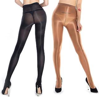 RICHTOER 2 paires formant chaussettes de ballet à l'huile bas en soie brillante collants collants de danse