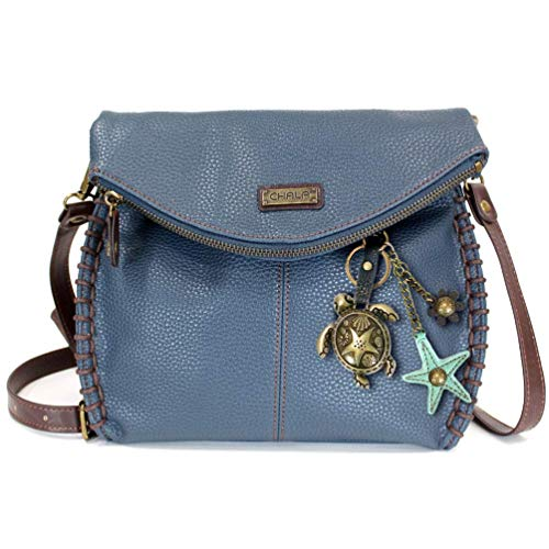 Chala Charming Crossbody Bag - Flap Top and Metal Key Charm in Navy Blue, Cross-Body or Shoulder Purse - Turtle