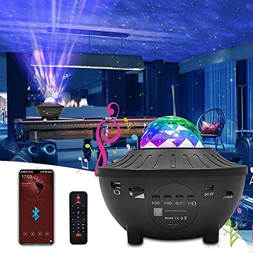 Proyector Estrellas, Newlemo Lámpara Poyector Galaxia con Temporización, Control Remotoy Bluetooth - 10 Modos Luz, Proyector de Estrellas para Niños Adulto Cumpleaños y Fiesta