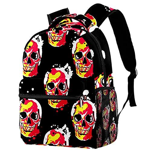 Mochila para niños, mochila escolar, calaveras, bolsas de Halloween, mochila de tela trenzada, casual, para niñas y niños