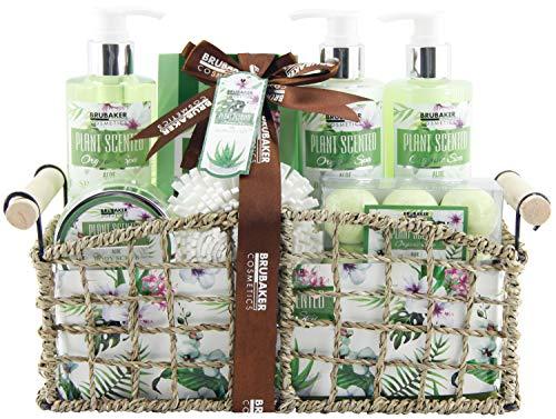 BRUBAKER Cosmetics - Coffret de bain & douche - Aloe vera - 13 Pièces - Panier rétro décoratif - Idée cadeau