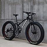 Bicicleta 26 Pulgadas MTB Arriba Rueda Grasa Moto Playa Nieve Grande Grasa Bicicletas 21 Velocidades Grasas para Adultos NeumáTico Grasa Bicicleta MontañA Crucero Bicicleta Grasa,A,24IN