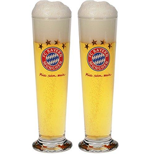 FC Bayern München Glas/Bierglas/Pilsglas/Pilsstange 2er Set mia san mia FCB - Plus gratis Aufkleber Forever München