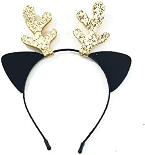XLEIYI Lovely The Same Paragraph Antlers Headband Christmas Headdress Cute Deer Hairpin Deer Headband Four Colors Optional (Color : Black)
