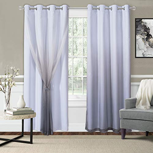 WONTEX Mix & Match Blackout and Sheer Ombre Curtains for Living Room/Bedroom, White-Grey, 52 x 84 inch Long – Thermal Insulated Sun Light Blocking Grommet Curtain Panels, Set of 2