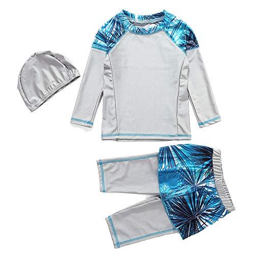 CHICTRY Mädchen 3Pcs Badeanzug Muslim Islamische Schwimmanzug Burkini Set Full Cover Badebekleidung Langarm Badeshirt mit Badehose Grau 104-110