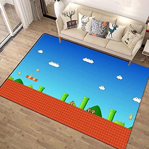 3D Super Mario Smash Bros Kirby Alfombra Muy Suave para decoración artística de poliéster para Sala de Estar, Dormitorio, Cocina, Dormitorio para niños-120X160CM-A_80x120cm