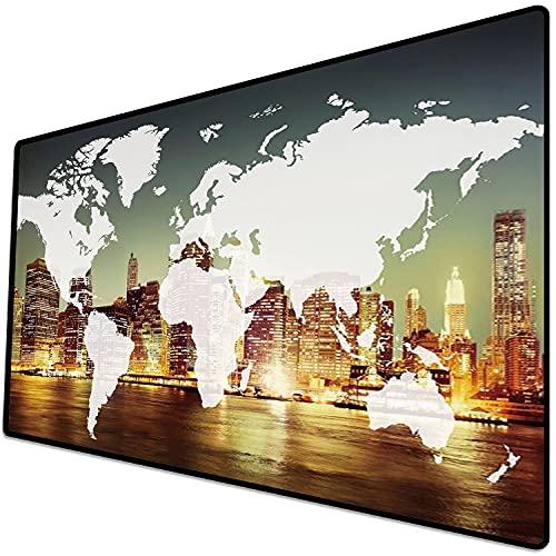 Alfombrilla de ratón (600x300x3 mm) Mundo, Mundo Global Cartografía Globalización Tierra Concepto Internacional Ciudad de Nueva York Superficie Suave y cómoda de la Alfombrilla de ratón para Juegos
