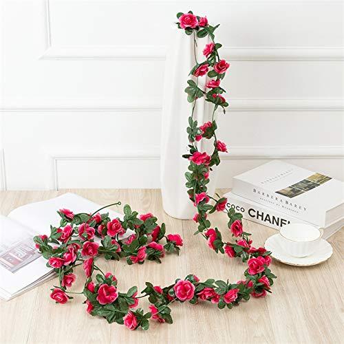 ZHANG 2.6M Fake Rose Vine Guirnalda Flores Artificiales Plantas Colgando para la casa de la casa de la casa de la casa de la casa Decoración de Arte Artesanal (Color : Rose Red)