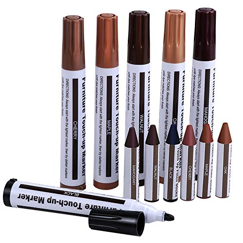 Furniture Markers, McoMce Furniture Repair Kit Wood Markers, Furniture Pen Repair System, Set of 12-6PCS Furniture Pens for Scratches & 6PCS Crayons, Multi-Colored Wood Floor Scratch Repair