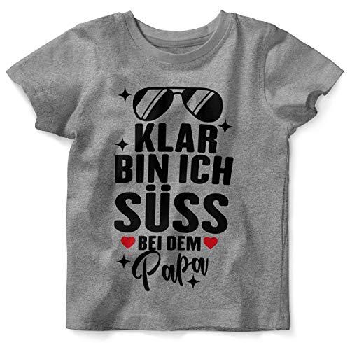 Mikalino Baby/Kinder T-Shirt mit Spruch für Jungen Mädchen Unisex Kurzarm Klar Bin ich süß - bei dem Papa | handbedruckt in Deutschland | Handmade with Love, Farbe:Heather, Grösse:80/86