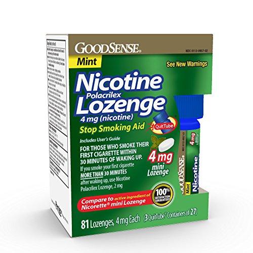 GoodSense Mini Nicotine Polacrilex Lozenge, 4 mg (nicotine), Stop Smoking Aid, Mint Flavor; quit smoking with mint nicotine lozenge, 81 Count