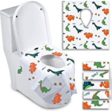 Disposable Toilet Seat Covers for Toddlers - Individually Wrapped Dinosaur Potty Training Liners for Kids - Portable with Non-Slip Adhesives - Extra Large Size - Road Trip Essentials