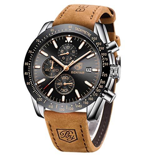 Orologio Cronografo da Uomo BY BENYAR Movimento al Quarzo Moda Sportivo Watch 30M impermeabile Elegante Regalo per Uomo