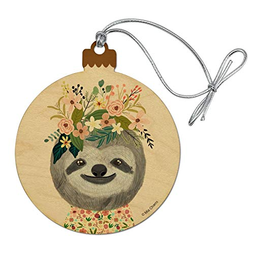 GRAPHICS & MORE Happy Sloth Flowers in Hair Wood Christmas Tree Holiday Ornament