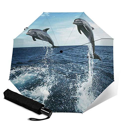 Dolphin,Auto-Opening Travel Umbrella, Compact, Foldable, Sun & Rain Protection, Windproof, Portable Umbrella for Kids, Women, Men