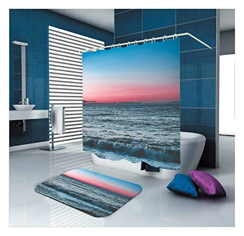 Aeici Badematten 40X60 Duschvorhang 150X180CM Welle Polyester Badematte Dusche Blau