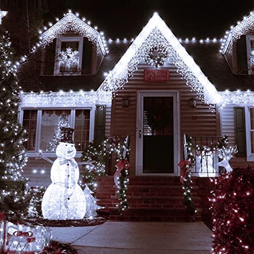 Lichterkette, Sumairs 17m Lichterkette Außen Strom, Weihnachtsbeleuchtung Außen mit 8 Betriebsmodi, 480 Spritzwassergeschützten LED Lichterkette für balkon Garten Weihnachten Dekoration, Kaltweiß