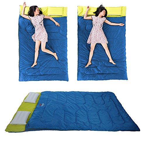 Zetiling dubbele slaapzak, outdoor dubbele slaapzak envelop lente en herfst camping wandelen draagbare slaapzak met kussen