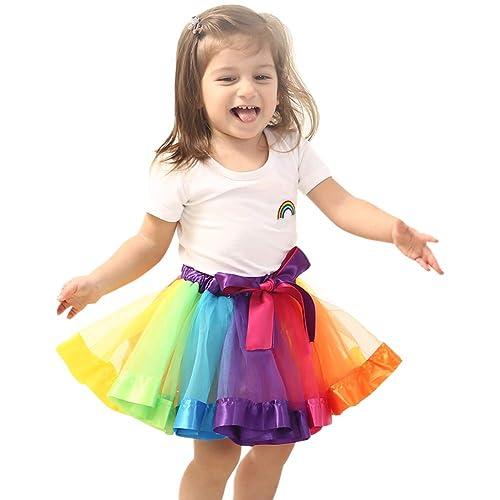 eb245c8701 Baby Girls Birthday Christmas Festival Party Dress Rainbow Dance Skirt