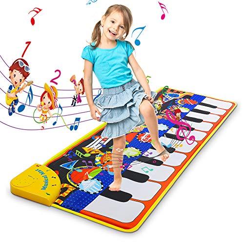 Kqpoinw Alfombra Musical, Juguetes para Niños de 2 3 4 5 Años, Alfombra de Baile, 8 Instrumentos Suenan Alfombra Piano, Educativo Juguete Regalo para Bebé Niños Niño Niña (110 * 36cm)