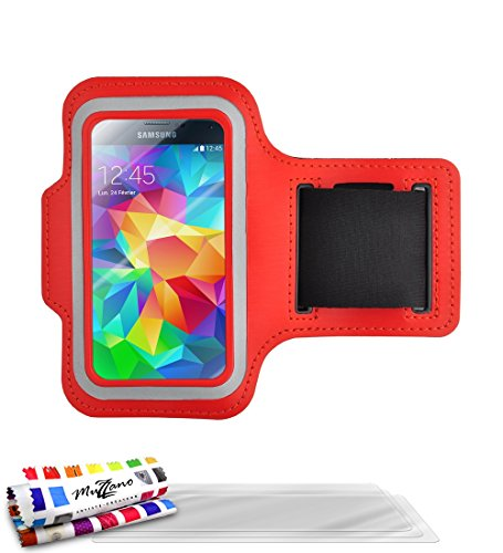 Muzzano Tonic 433722 sportarmband van neopreen met anti-slip rood pak displaybeschermfolie voor Samsung Galaxy S5