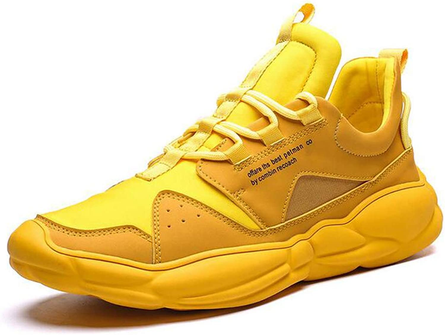 Y-H Men's Running shoes, Spring Fall Flat Casual Sneakers,Comfort Breathable Slip-Ons Training shoes,Yellow,44