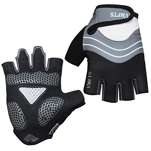 VMFTS Cycling Gloves Gel Pading Fingerless Sporting Glove for Weightlifting Racing Biking Climbing Parkour Running,Black Medium