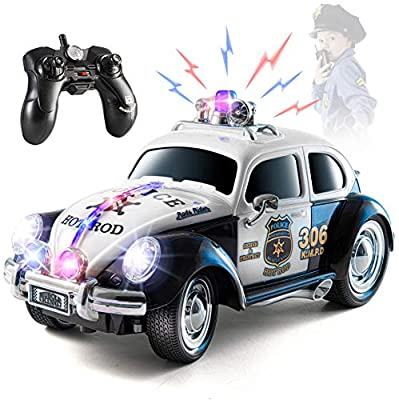 Top Race Remote Control Police Car, with Lights and Sirens   RC Police Car for Kids   Easy to Control, Rubber Tires, Heavy Duty Old Fashioned Style by Top Race