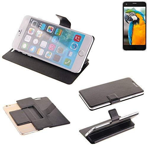 K-S-Trade® Handy Schutz Hülle Für Vestel V3 5040 Flip Cover Handy Wallet Case Slim Bookstyle Schwarz