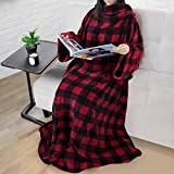Premium Fleece Blanket with Sleeves for Adult, Women, Men | Warm, Cozy, Extra Soft, Microplush, Functional, Lightweight Wearable Throw (Checkered Red, Regular Pocket)