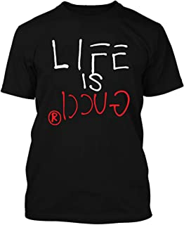 Adult Short Sleeve T-Shirt Printed with-Life is Gucci Design
