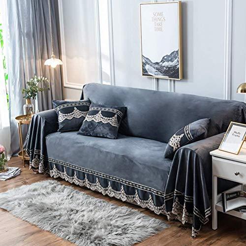 BANNAB Funda de sofá de Felpa, 1 Pieza Funda de sofá de Gamuza de Encaje Vintage Protector de Muebles Antideslizante para 1 2 3 4 Cojines sofás-Gris 200x380cm