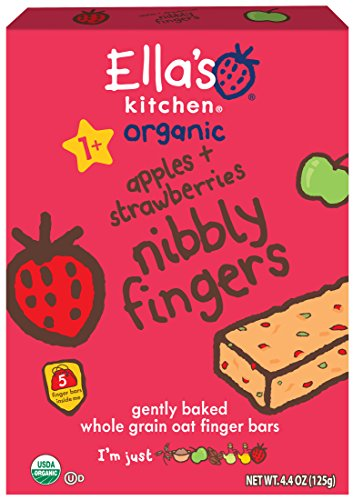 Ella's Kitchen Organic 1+ Year Nibbly Fingers, Apples and Strawberries, 4.4 oz, Pack of 12