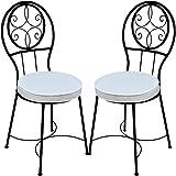 2er Set Mediterraner Stuhl Gartenstuhl aus Metall Schwarz Terrassa ø 40 cm | Balkonstuhl Inkl....