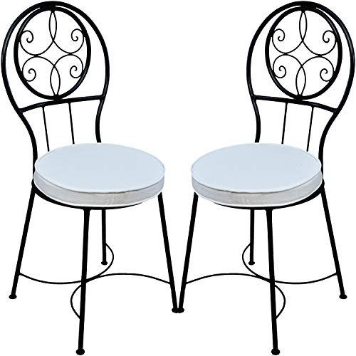2er Set Mediterraner Stuhl Gartenstuhl aus Metall Schwarz Terrassa ø 40 cm | Balkonstuhl Inkl. Sitzkissen Stuhlkissen | Eisenstuhl als Bistrostuhl | Mediterrane Deko im Garten Terrasse oder Balkon