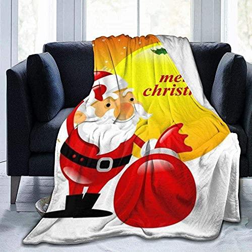Manta, decoración de dibujos animados de Navidad impresa ligera, súper suave, cálida y cómoda, manta de forro polar para sofá, cama, sofá, silla infantil de 60 x 50 pulgadas