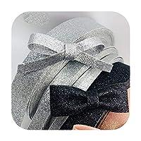 kawayi-桃 シシィクラフトテープシルバーピンクブラックスパンコールメタリックグリッターリボンフェイクレザーPUリボンレイヤーDIYヘアボウタイ素材1M -Black-10mm