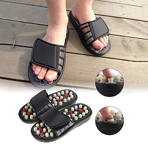 Fußmassage Hausschuhe Akupunktur Therapie Massagegeräte Schuhe für Fußakupunkt Reflexzonenmassage Fußpflege Massageador Sandale, Weiß, 42~43