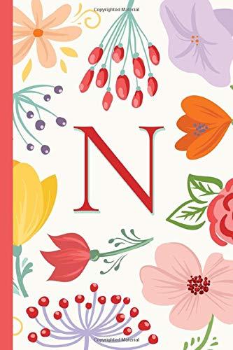 N: Monogram Initial - Flower Theme Notebook for Ladies