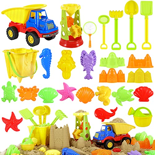 Beach Toys Sand Toys Set - 30 pcs Sandbox Toys for Kids 3-10 with Water Wheel, Big Truck, Bucket, Watering Can, Shovel Tool Kit, Sand Molds, Summer Beach Castle Kit Outdoor Toys for Boys & Girls