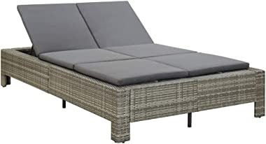vidaXL 2-Person Sunbed with Cushion Outdoor Garden Patio Chaise Lounge Relaxing Sofa Day Bed Furniture Grey Poly Rattan
