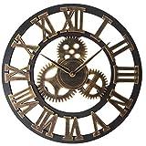 October Elf Reloj de Pared con Números Romanos 40 cm Vintage Silenciosos Reloj de Esqueleto de Metal No se Hace Tictac Sala de Estar Café Hotel Oficina Decoración para el Hogar Regalo (Engranajes)