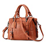 Womens Leather Handbag, JOSEKO Fashion Ladies Crossbody Shoulder Bag Top-Handle Bostanten Messenger Bags Waterproof Tote for Daily Shopping with Long Detachable Strap