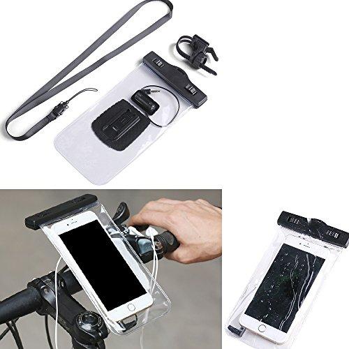 K-S-Trade Fahrrad Halterung Kompatibel Mit Huawei P20 Lite Dual-SIM Handy Halter Lenkstange Fahrradhalter Fahrradhalterung Regensicher Wasserdicht Anschluss Für Kopföhrer Transparent