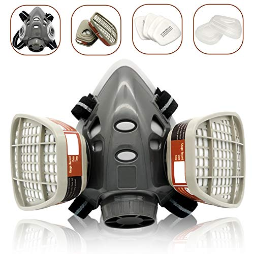 Reusable Half Face Cover Set, Half Face Respirаtor, Personal Protective Equipment Filter for Painting, Decorating Carpentry, Welding, Metal Cutting, Same Scene as 6000 6200 7000 FF-400 (Medium)