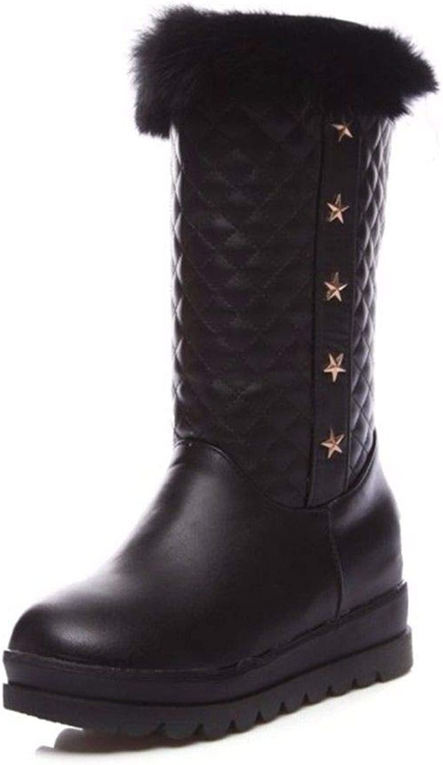 Autumn and Winter in The European and American Round Head Increase The Foot Big Code Female Snow Boots