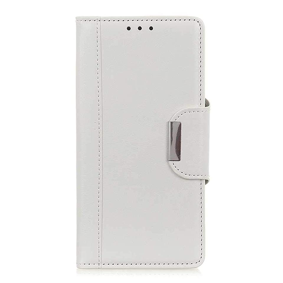インタフェースすすり泣き有名なOMATENTI Galaxy A6 2018 ケース, 軽量 超薄型 質 ソフト手作り レトロPUレザー 財布型 ケース, 簡約風 人気 手帳型カバー, カードホルダー付き, 白い