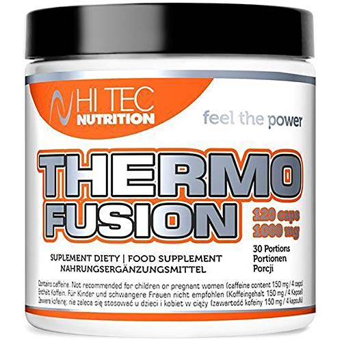 Hi Tec Thermo Fusion 120 Capsules   Thermogene vetverbrander   Gewichtsverlies   Afslankpillen   Vermindering van vetweefsel   Voedingssupplement